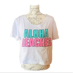 "Small VS Pink ""Aloha Beaches"" Crop Top"